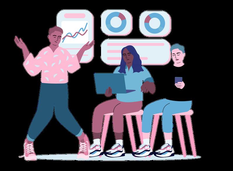 Illustration of a team of three brainstorming.