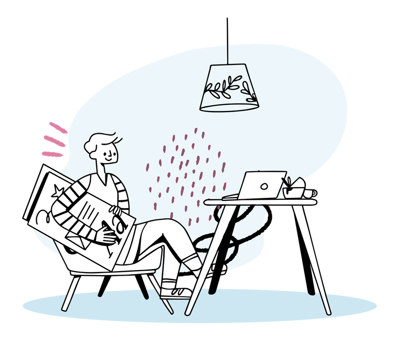 Illustration of a man sitting at his desk, thinking.
