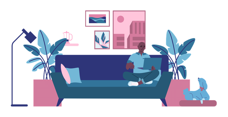 Illustration of a man of a man sitting on the couch with his laptop.