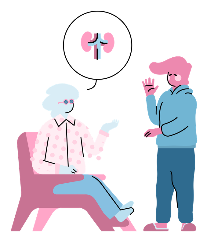 Illustration of a man caring for someone.