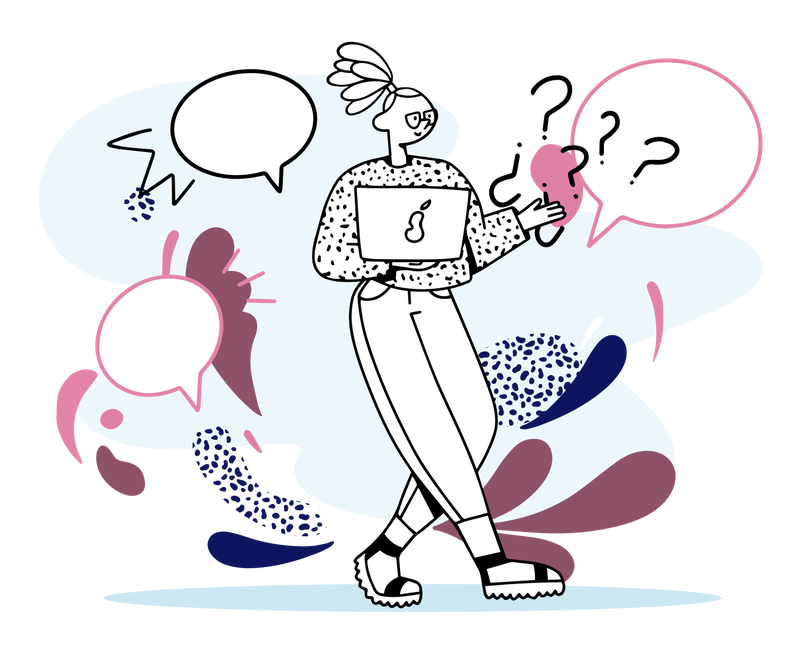 Illustration of lady standing, holding her laptop and thinking.