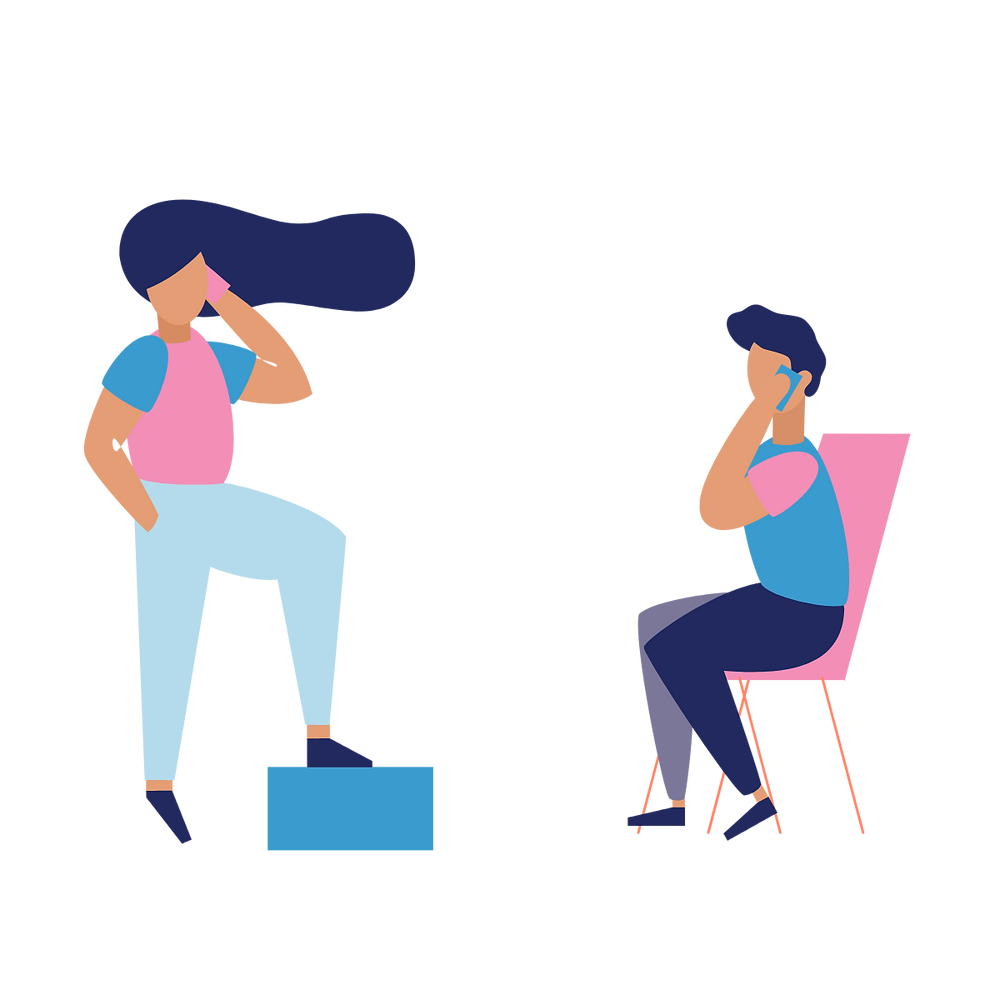Illustration of a man and woman on the phone.