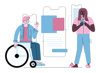 Illustration of man in wheelchair and woman on her phone