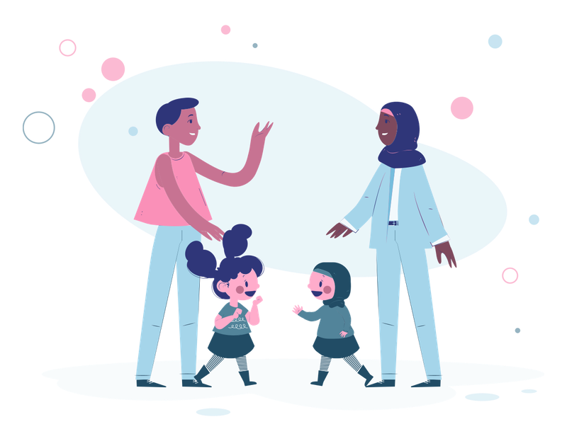 Illustration of two adults talking with two kids.