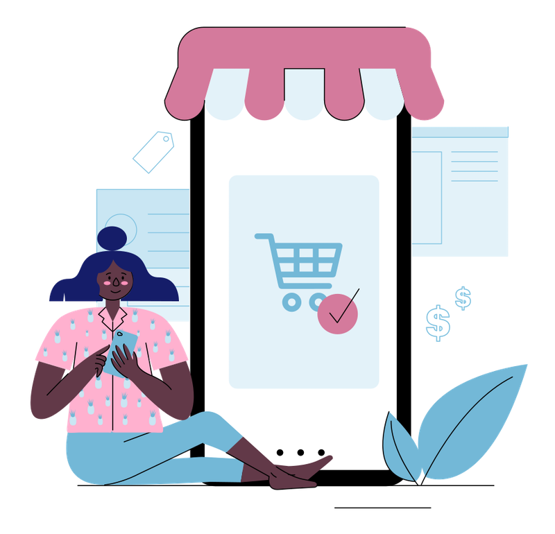Illustration of a woman online shopping on her phone.