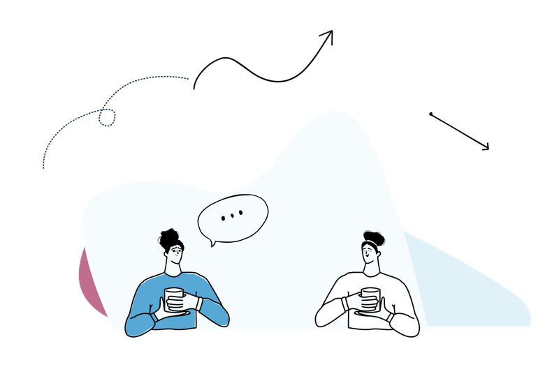 Illustration of two men chatting and drinking tea.