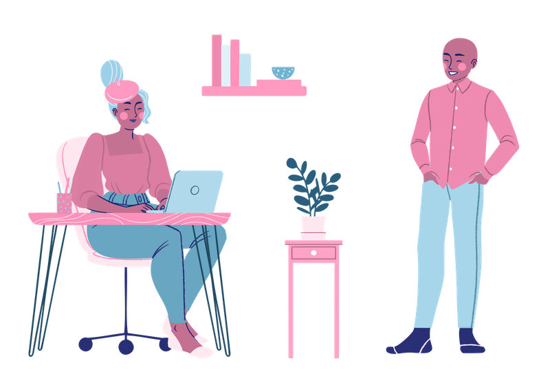 Illustration of woman of working from home and man standing next to her desk.