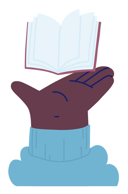 Illustration of a hand and a book.