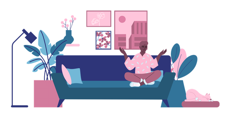 Illustration of man sitting on the couch.