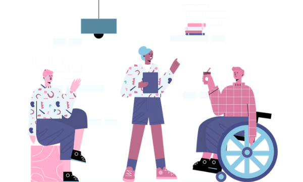 Illustration of three people talking. One person is in a wheelchair whilst another is holding a clipboard.