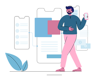 Illustration of a man standing on his phone.png