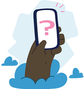 Illustration of a hand holding a phone, with a question mark on the screen.