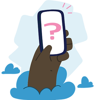 Hand holding a phone with a question mark on screen