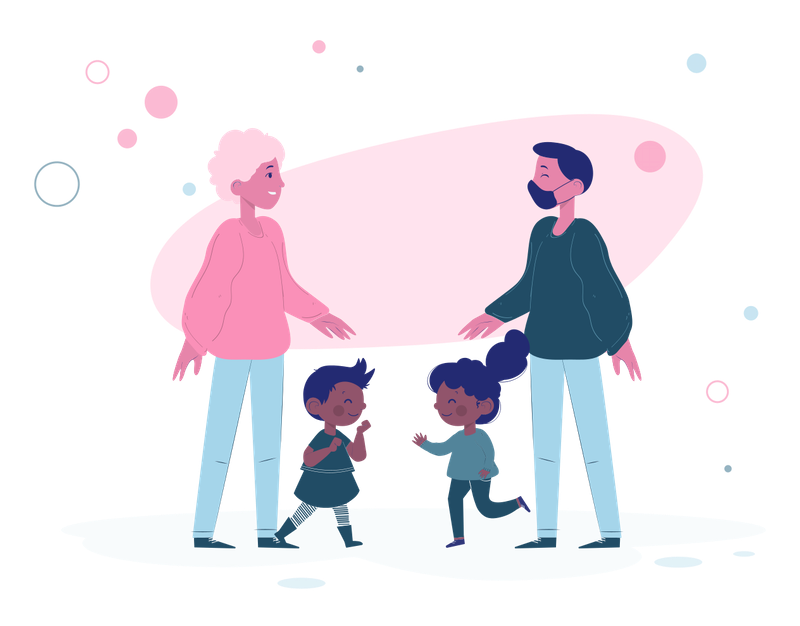 Illustration of two parents and their kids.