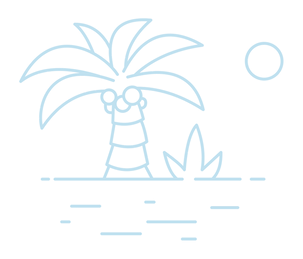 Illustration of a palm tree, the sun and a beach