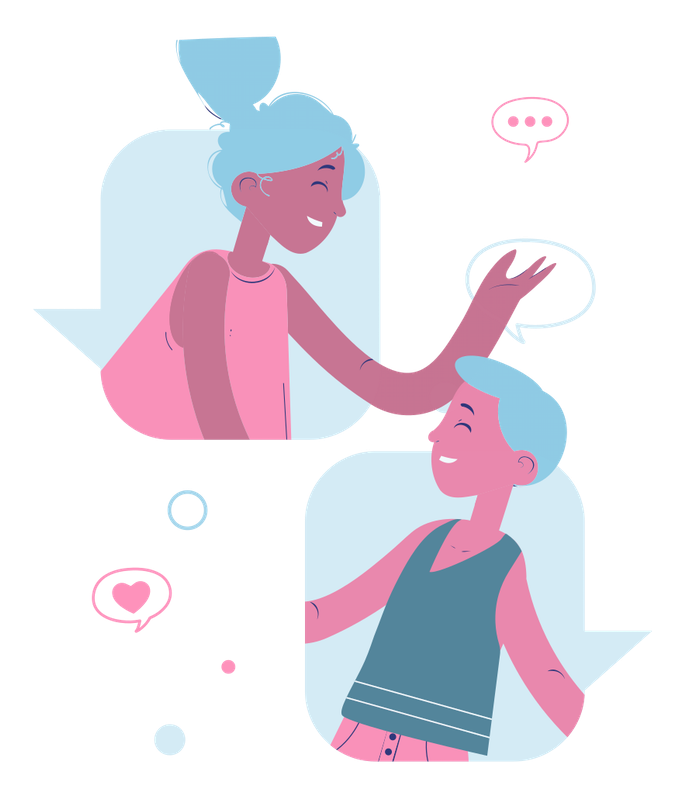 Illustration of two people messaging.