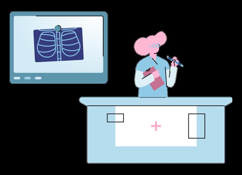 Illustration of hospital front desk.