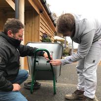 Graham and Darrell fixing wheelbarrow