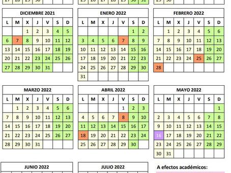 Calendario escolar Comunidad de Madrid 2021/2022.