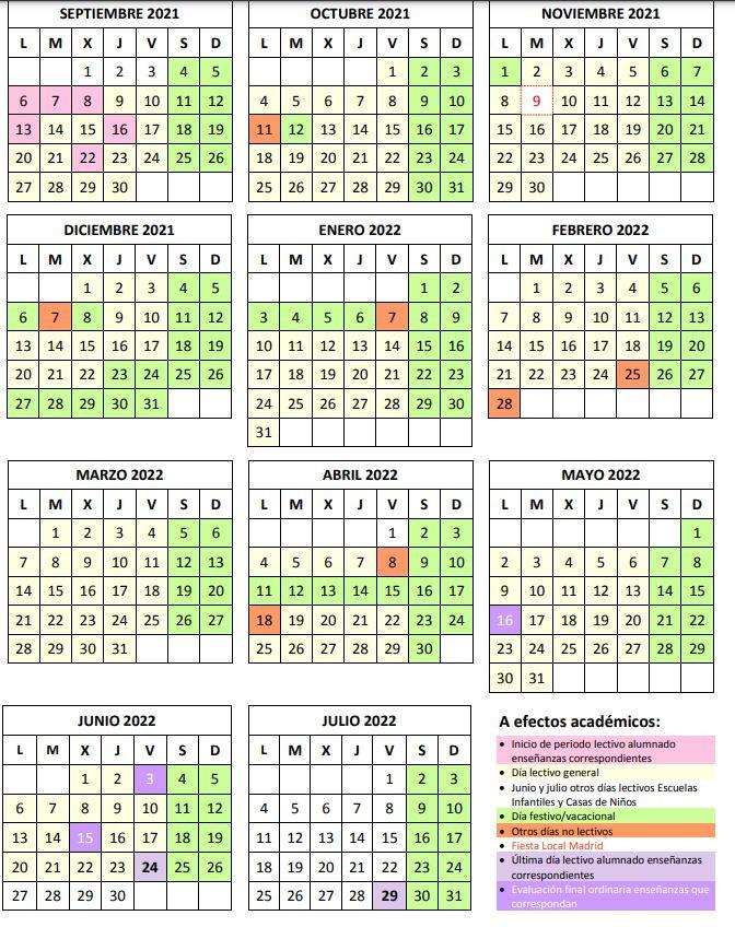 Calendario Escolar COMUNIDAD DE MADRID CURSO 2021-2022