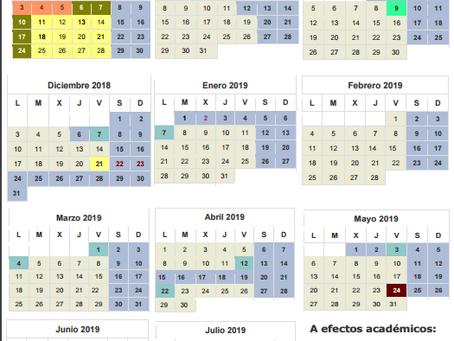 Calendario escolar  2018 / 2019