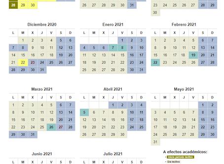 ACTUALIZADO. Calendario escolar Comunidad de Madrid 2020/2021.
