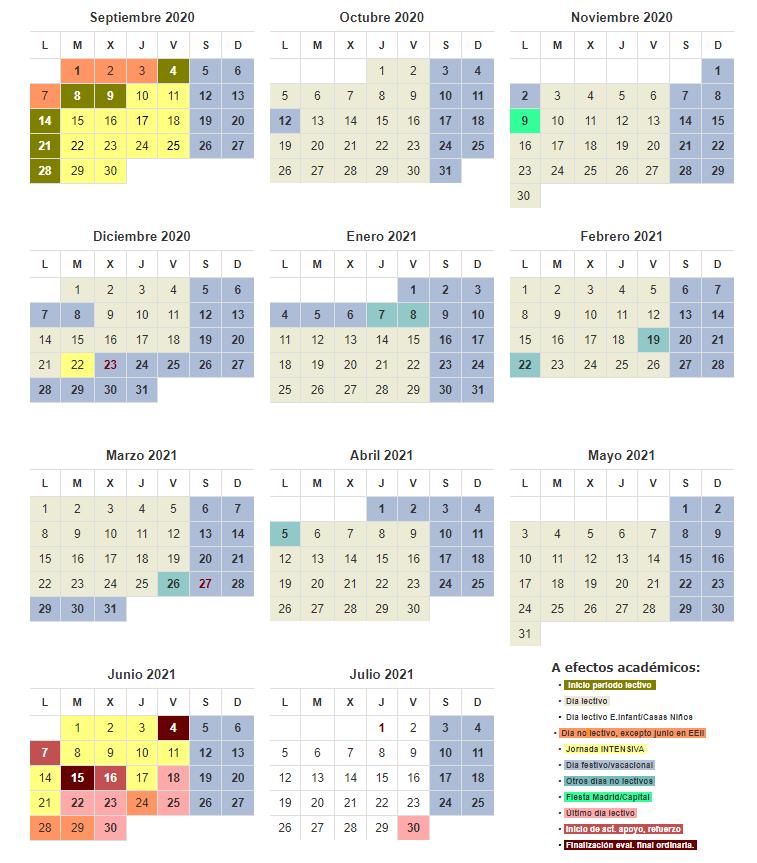 calendario escolar 2020/2021 comuinidad de Madrid
