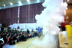 화산대폭발 실험 시연