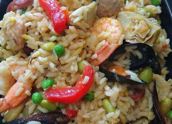 Paëlla spécial Copains aux fruits de mer, chorizo et poulet
