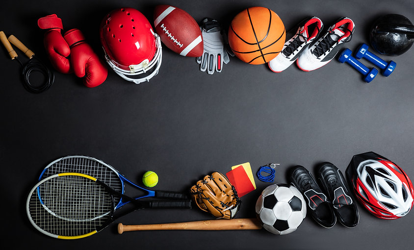 High Angle View Of Various Sport Equipme