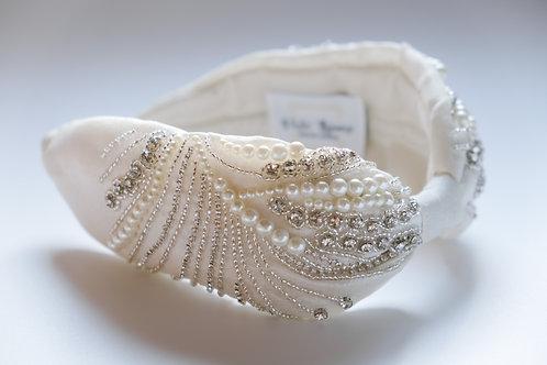 Cerchietto bianco perle e strass