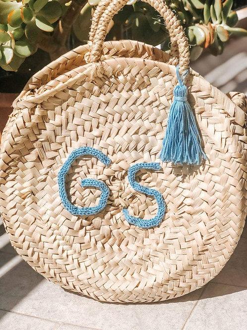 Round Bag in paglia personalizzabile