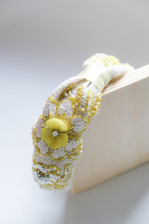 Cerchietto gioiello in iuta con fiori in paillettes