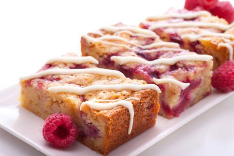White Choc Rasberry Slice Gluten Free