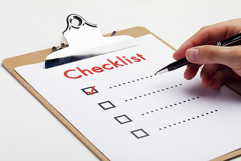 An item on a checklist being checked off