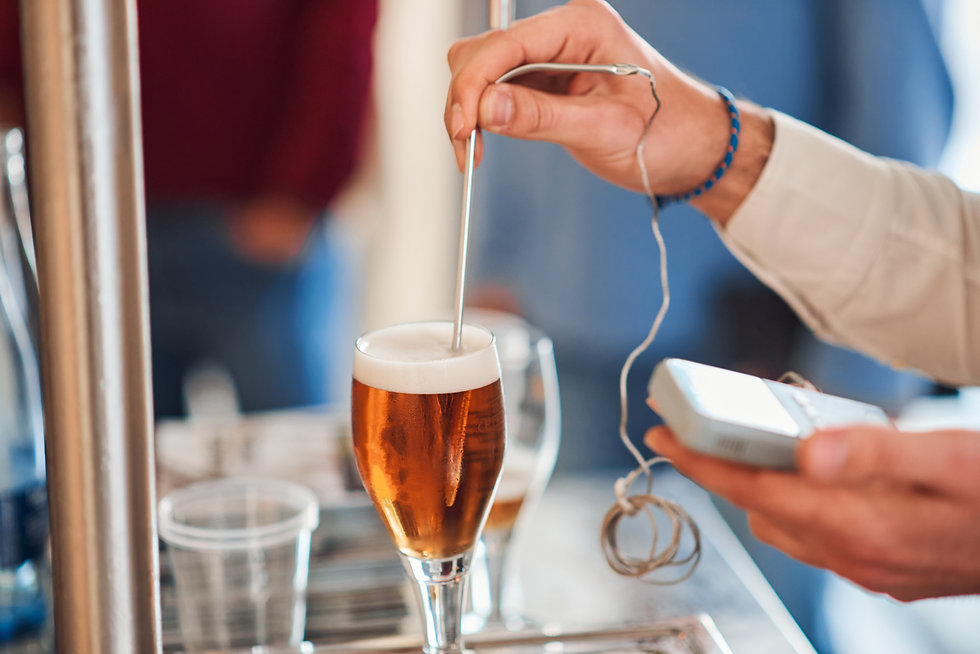 man in measuring beer temperature with a