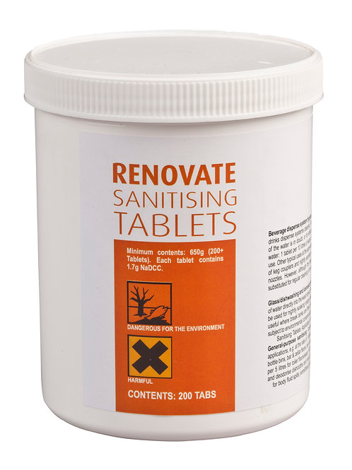 RENOVATE SANITISING TABLETS - Glass-washing, dish-washing and ice making machine
