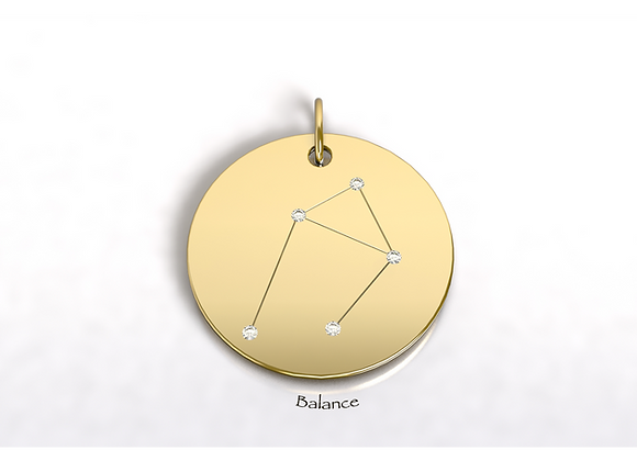 Médaille BALANCE constellation  or et diamants