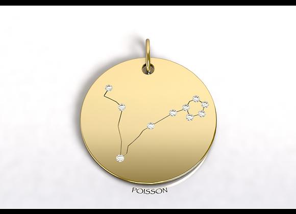 Médaille POISSON constellation  or et diamants