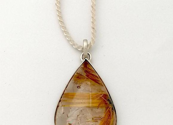 pendentif quartz rutile argent brossé