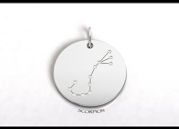 Médaille SCORPION constellation  or et diamants
