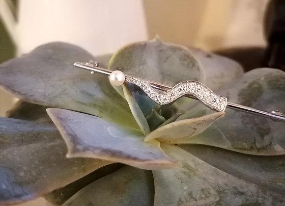 broche or blanc perle blanche diamants