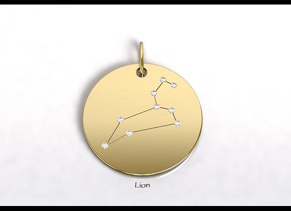 Médaille Lion constellation Or et Diamants