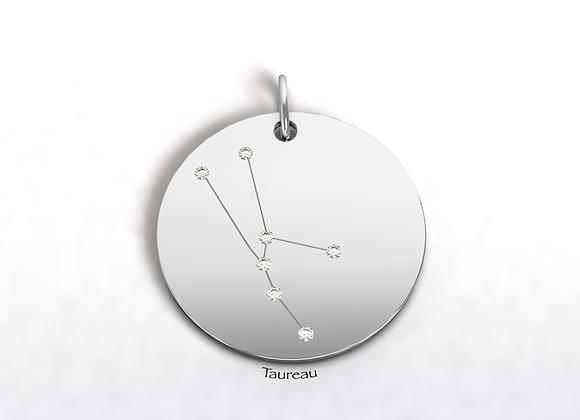 Médaille Taureau constellation Or et Diamants