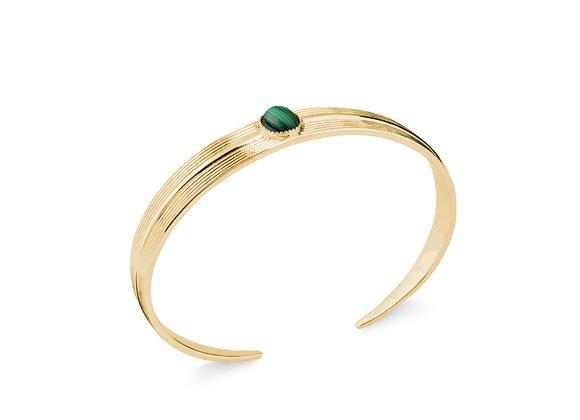Bracelet rigide plaqué or Malachite