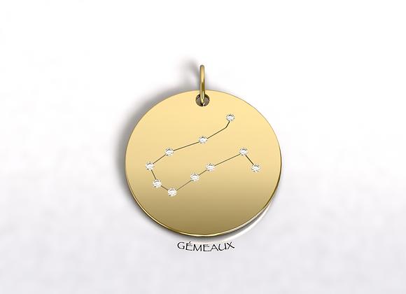 Médaille Gémeaux constellation Or et Diamants