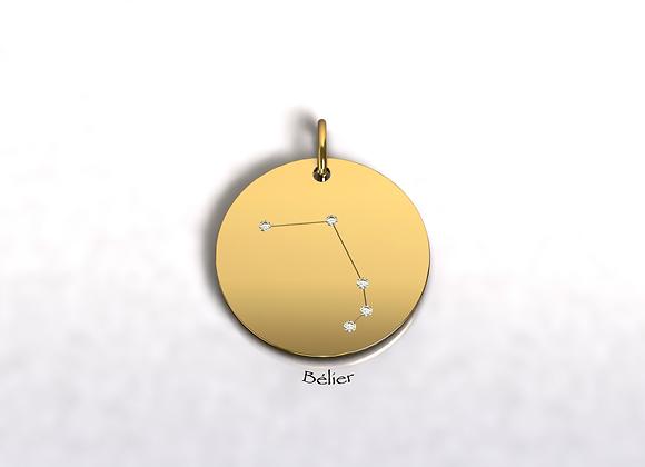 Médaille Bélier constellation  or et diamants