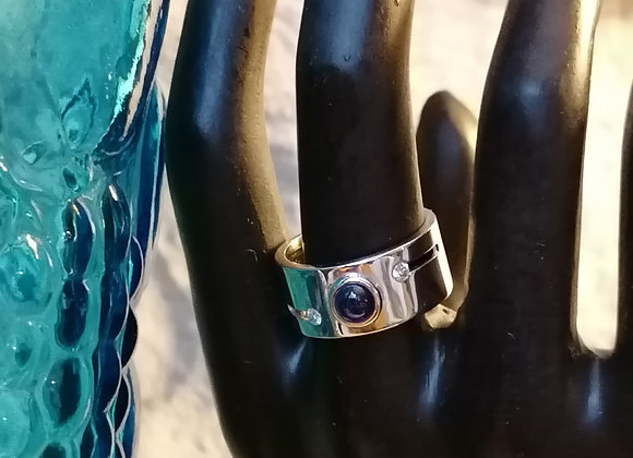 bague ruban or blanc saphir cabochon