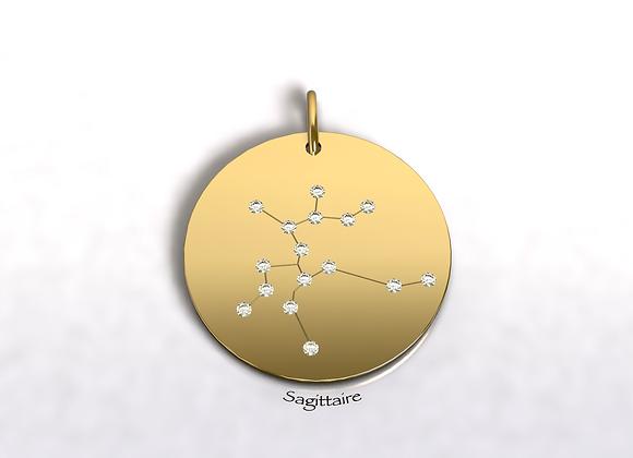 Médaille Sagittaire constellation Or et Diamants