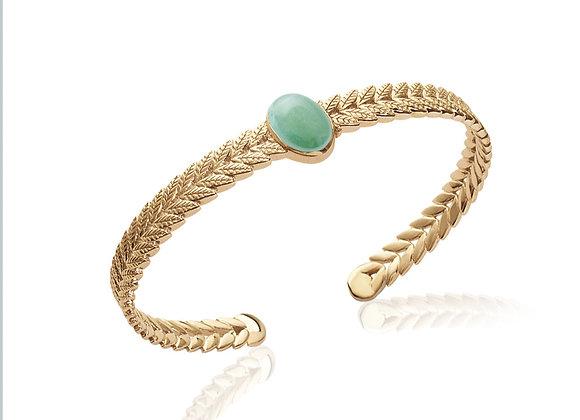 BRacelet rigide plaqué or Aventurine